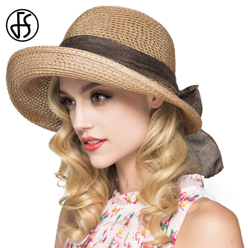 8582c62fdb9 FS Summer Sun Hats For Women Foldable 2018 Straw Sunbonnet Wide Brim Floppy  Cloche Hat Vacation