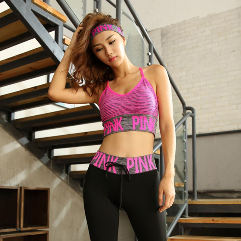 d82c58487a2f4 Toppick Pink Letter Yoga Bra Fashion striped Push Up Sports Bra Y Word With Fitness  Women