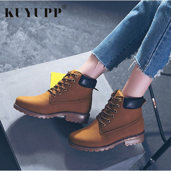 9 Colors Women Lace Up Work & Safety Winter Boots Fashion Low Heel Womens Military Boots Plus Size 9.5 Botas Mujer Shoes KBT1057