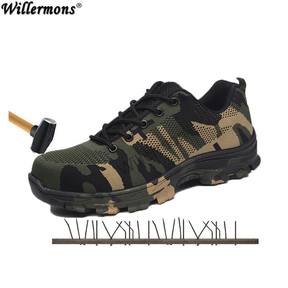 2018 New Men's Plus Size Outdoor Steel Toe Cap Military Work & Safety Boots Shoes Men Camouflage Army Puncture Proof Boots
