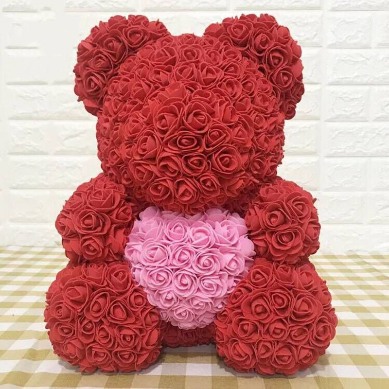YO CHO 23cm 40cm Red Rose Bear Flowers Artificial Foam Love Roses Valentines Day Gift
