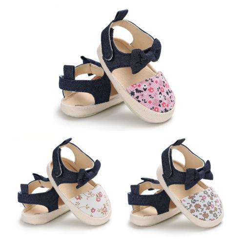 0-18M Baby Girls Flower Shoes Newborn Soft Sole Crib Sandals First Walker Shoes