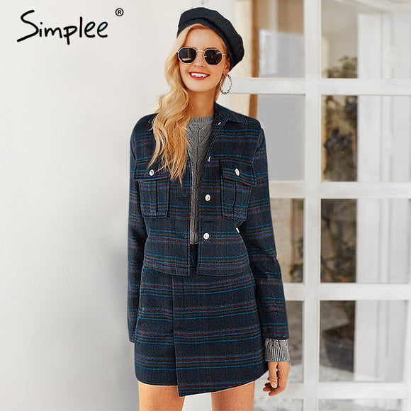 Simplee Korean fashion women jacket coat Winter 2018 plaid skirt suit set Short jackets double breasted coat Office lady outwear