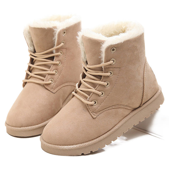 LAKESHI Hot Women Boots Winter Warm Snow Boots Women Botas Mujer Lace Up Fur Ankle Boots Ladies Winter Women Shoes Black NM01-Boots-Zodeys-beige-10-Zodeys