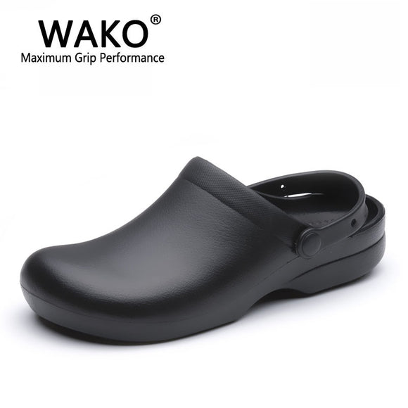 WAKO 9011 Men Chef Shoes Super Anti-slip Kitchen Work Shoes Cook Sandals Clogs with Straps Slip on Breathable Black Size 36-44