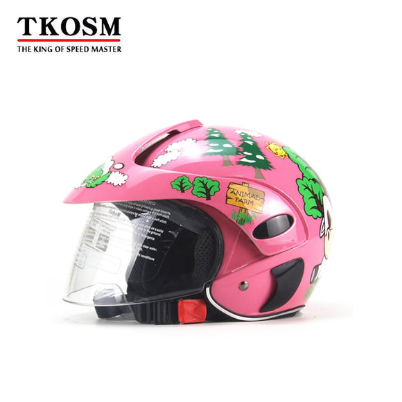 TKOSM Four Children Electric Motorcycle Helmet Harley Baby Child Riding Safety Cap Half of Men and Women in Autumn and Winter