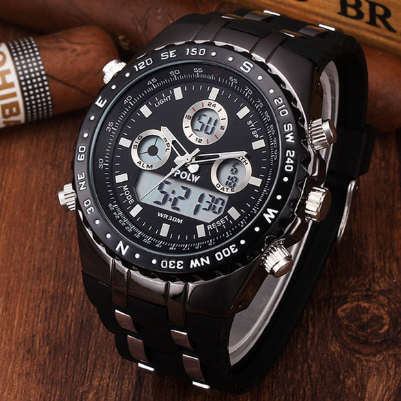 NEW Men's Luxury Brand Sport Watches Men Dual Display LED Digital Waterproof  Steel Quartz Watch Man Clock New