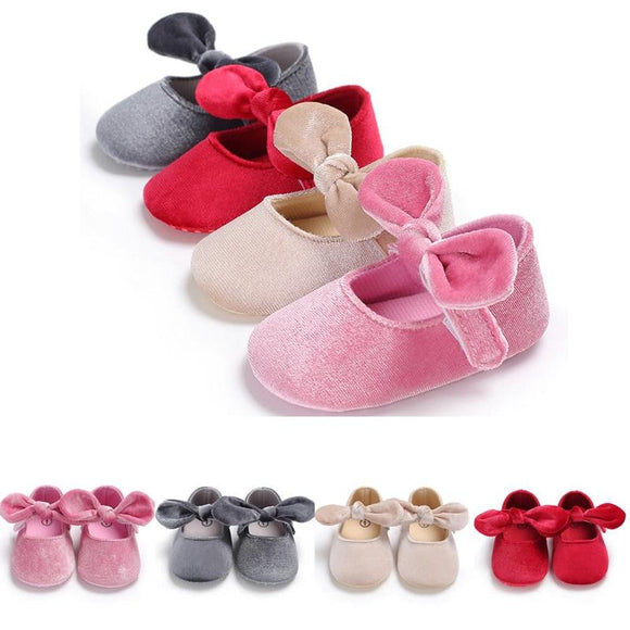 New Infants Newborn Baby Girl Boys Lovely Casual Soft Crib Shoes Solid Bowknot Kook Soft Sole Shoes Outfit 0-18M