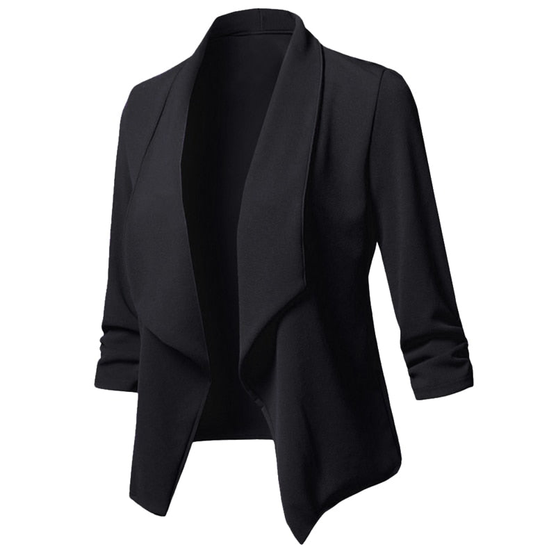 5f8d70a7c591f LASPERAL Ladies Blazers Work Wear Jacket Plus Size Blazer Women Solid Color  Suit Long Sleeved Office