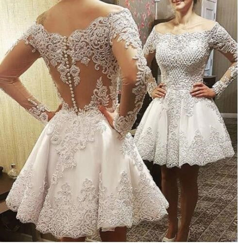 Vestido De Novia Luxury Long Sleeve Lace Crystal Pearls  2 en 1 Wedding Dress 2018 Sparkly Detachable Skirt Vestido De Novias