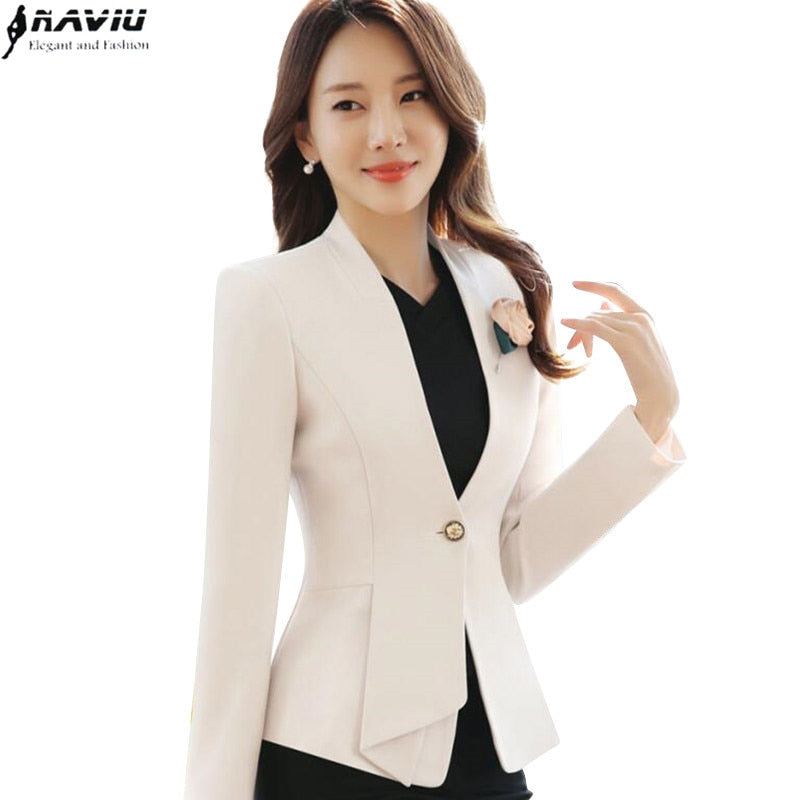 278451bde53df 2017 autumn winter women long sleeve blazer plus size fashion office formal  female jacket work wear
