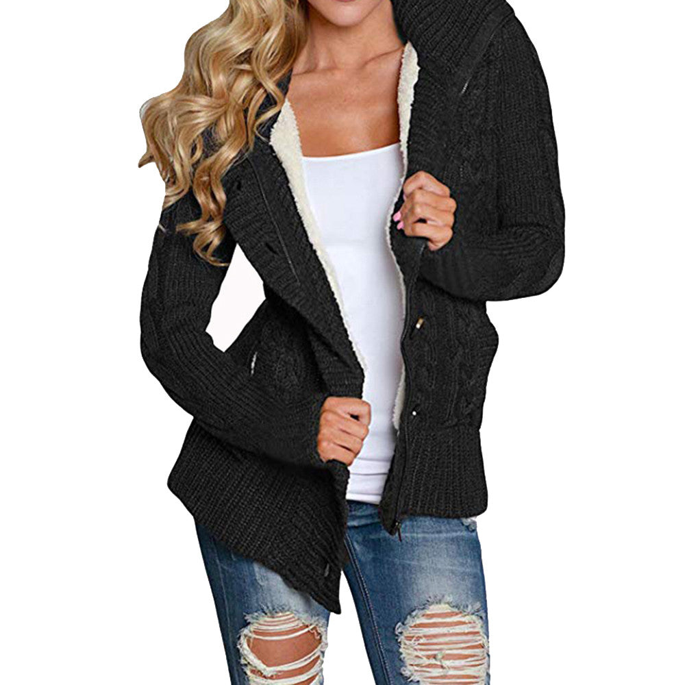 Winter Warm Soft Thick Women S Hooded Cable Knit Button