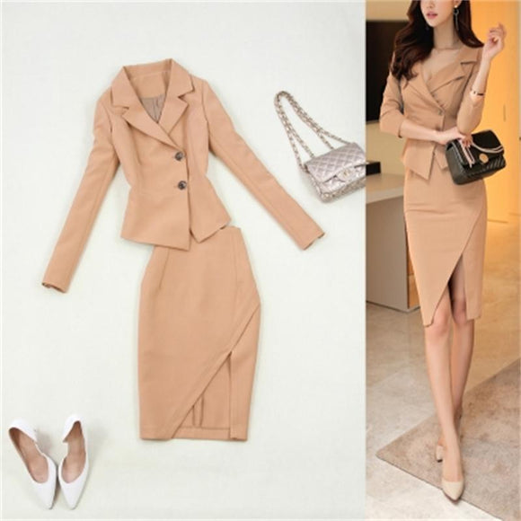 Fashion suit female large size women's autumn and winter new slim beige tooling small suit bag hip front split skirt suit women