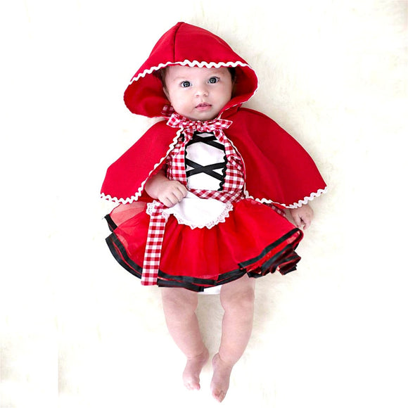daae0dbac022 2Pcs Christmas Newborn Toddler Baby Girls Clothes Little Red Riding Hood  Party Baby Girl Princess Dresses