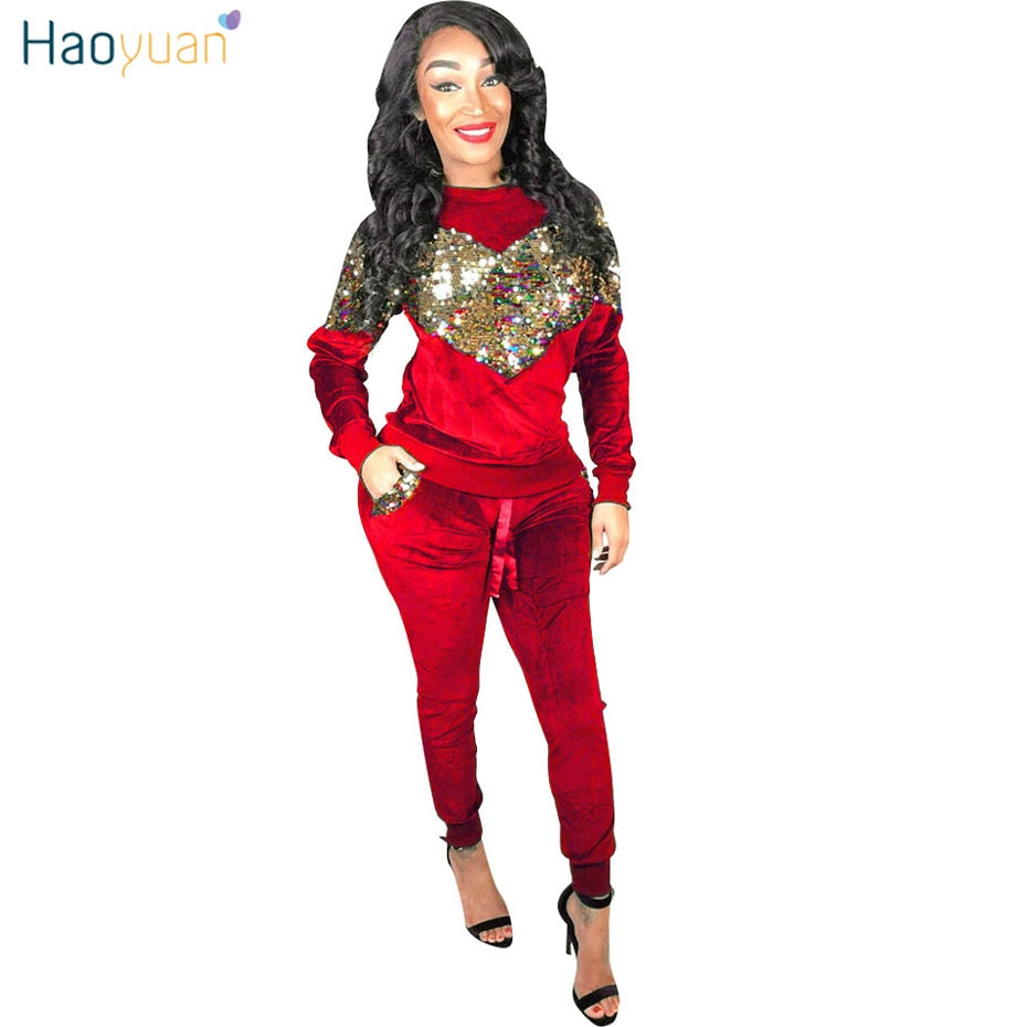 364f6fefd751a0 HAOYUAN Autumn Winter Women Two Piece Set Velvet Sequin Tops and Pant Suit  Casual Outfits 2