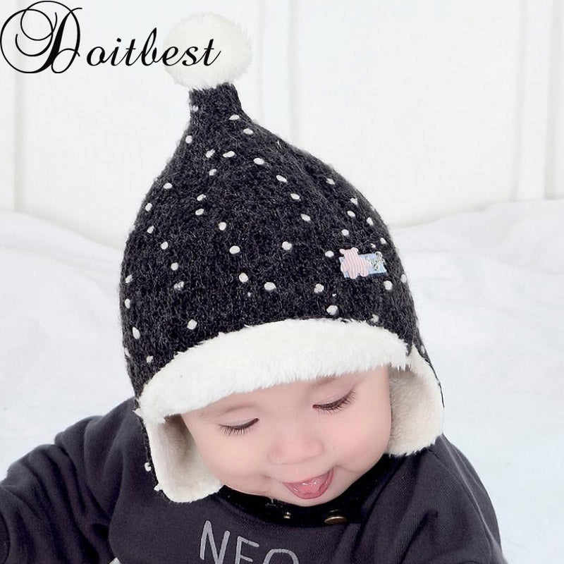 Doitbest Korean 1 to 3 years old Baby boy Bomber hat fur inside Winter  Beanies Child 108a8178a3e