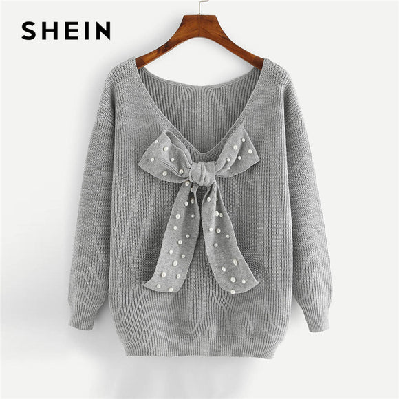 3e8228a971 SHEIN Grey Preppy Elegant Plus Size Dropped Shoulder Bow Detail Solid Pullovers  Sweater Autumn Casual Workwear