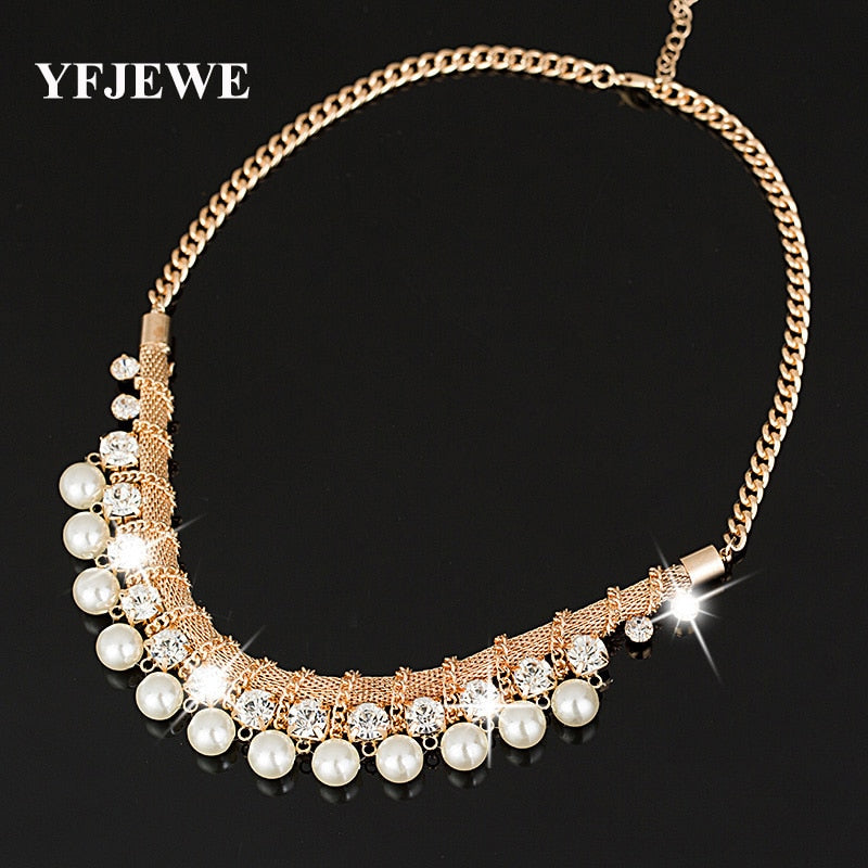 YFJEWE New hot Sale Lady Fashion Pearl Rhinestone Crystal Chunky Collar Statement  Necklace Free shipping for 1fa1d0d8100f