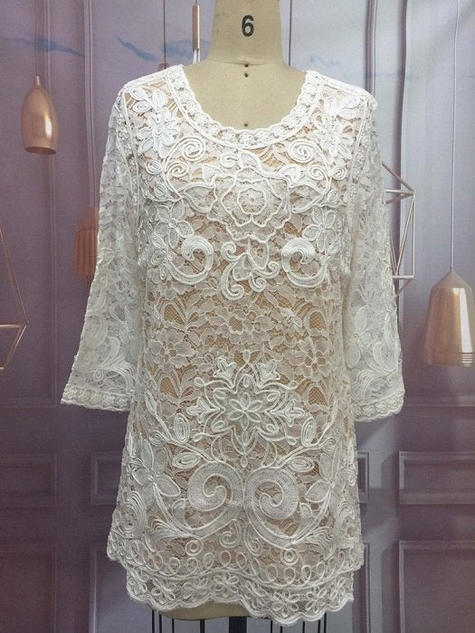 ... Summer Plus Size 4Xl Women Hollow Out Lace Blouse Casual Loose  Embroidery Flower 3 4 bc65a2dfe3bb