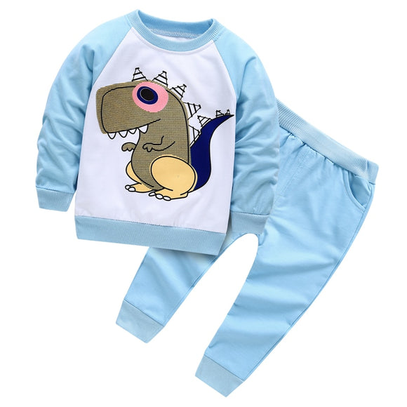 Spring Baby Boys girls Clothing set child dinosaur Tracksuit Infant Toddler boys Clothes Top T shirt+Pants toddler girl clothes