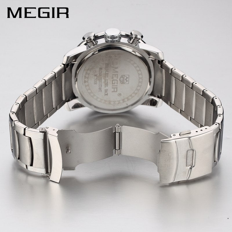 25d4c07386c MEGIR Original Quartz Men Watch Stainless Steel Business Wrist Watches  Clock Men Big Dial Waterproof Luminous