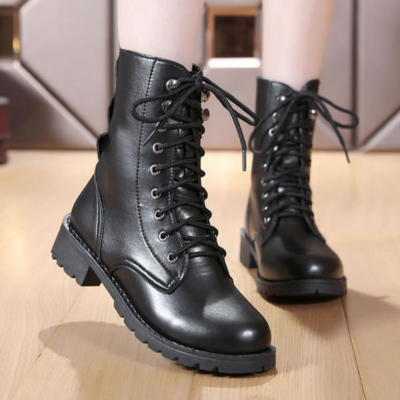 656c3da291f91 2018 New Buckle Winter Motorcycle Boots Women British Style Ankle Boots  Gothic Punk Low Heel ankle