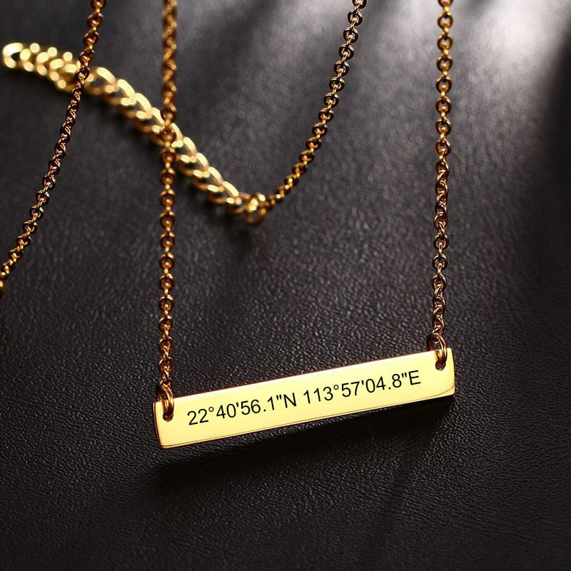 Gps Coordinates Necklace: Free Personalized GPS Coordinate Bar Choker Necklace For