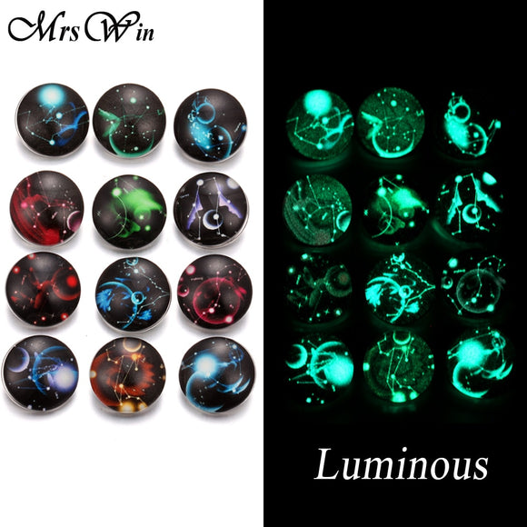 12Pcs/lot New Snap Jewelry Luminous 12 Constellation Zodiac Print Glass Snap Buttons fit 18mm Snap Bracelet Bangle Necklace