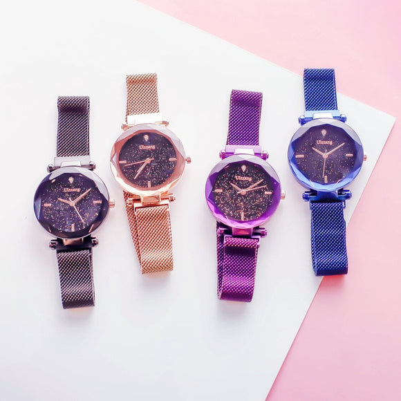 Luxury Starry Sky Magnetic Ladies Clock Rose Gold Women Watches Fashion Casual Waterproof Rhinestone Female Wristwatches ulzzang-Watches-Zodeys-Black-Zodeys