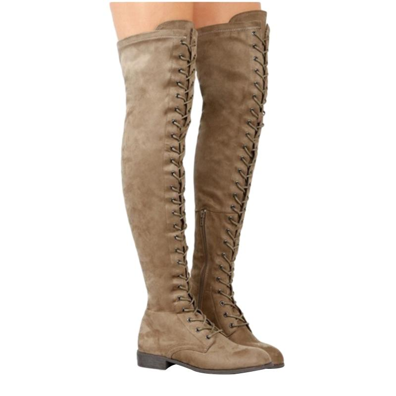 54901734d654 Sexy Lace Up Over Knee Boots Women rome style Boots Women Flats Shoes Woman  suede long