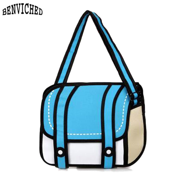 2018 New Fashion Woman Bags Novelty Back To School Bag 3D Drawing Cartoon Paper Comic Handbag Women Shoulder Bag Messenger Z652