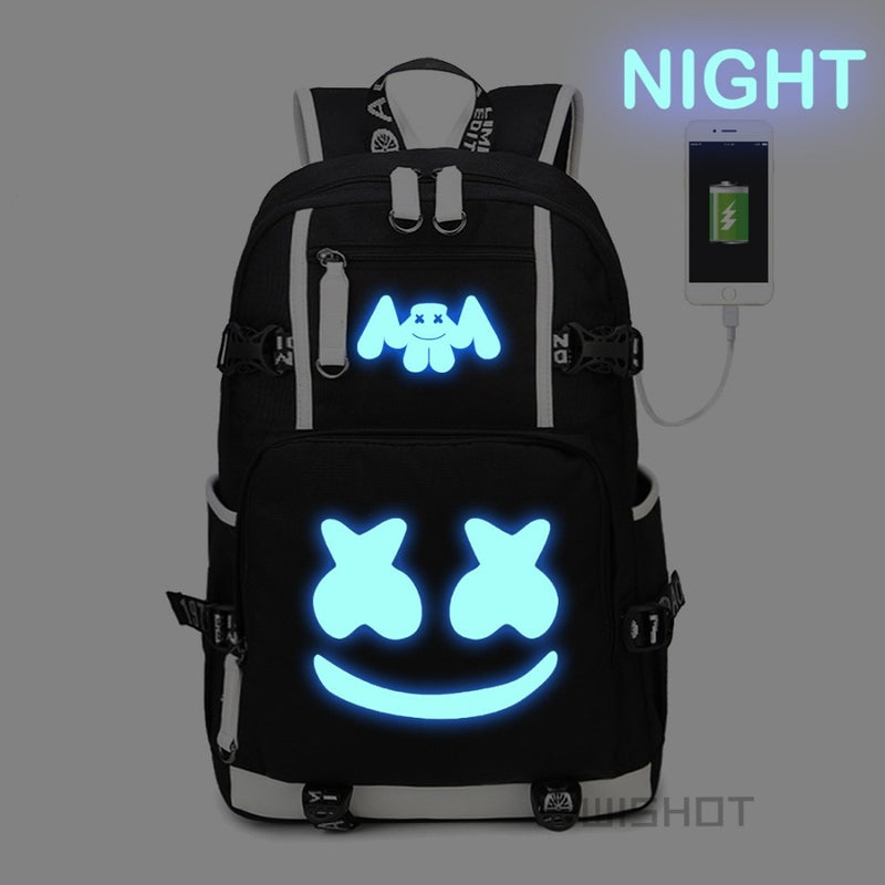 WISHOT Marshmello Backpack multifunction USB charging backpa for teenagers  Men women s Student School Bags travel Luminous fde38a44be935