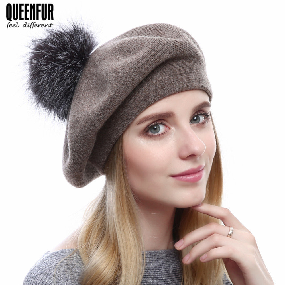 22a02d3559702 QUEENFUR Winter Beret Beanies Women Knitted Wool Hat With Real Silver Fox  Fur Pompom Hat Solid