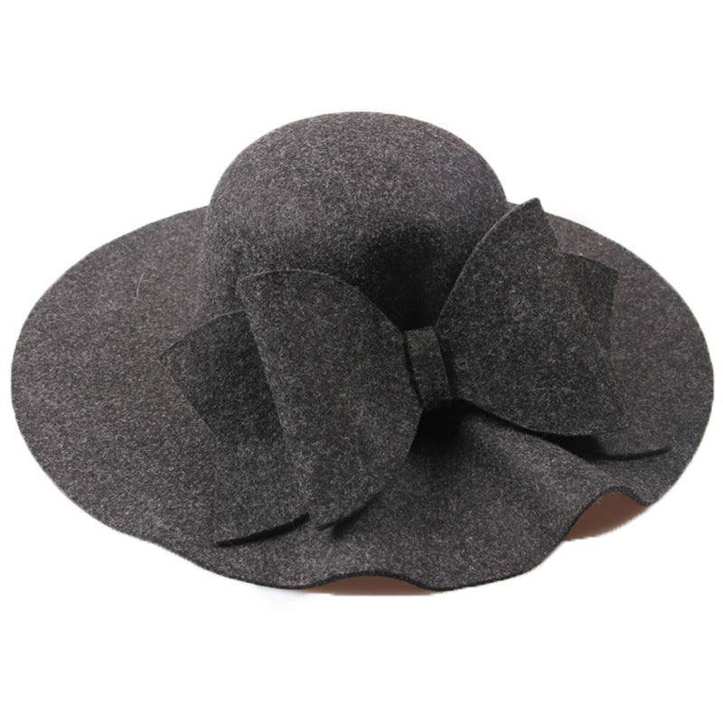 00d4662f0f2 Bow Tie Fedoras Felt Hats Women Autumn Winter Cap For Women Europe Classic  Girl Vintage Hat