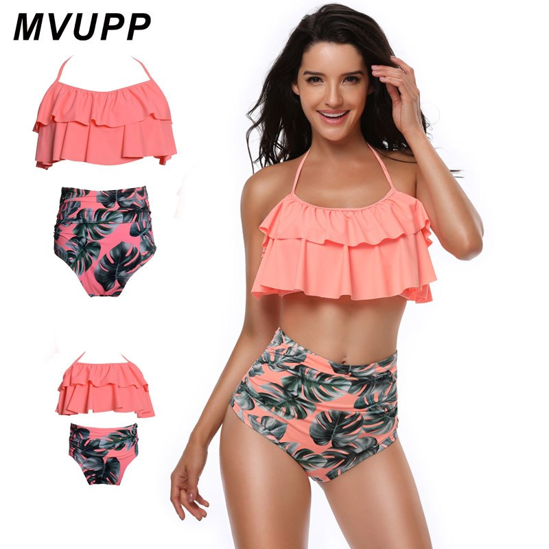 011a689f1e ... MVUPP family costumes match swimwear Floral Bikini summer bathing suit  High Waist Flounce tops Bandage mommy ...