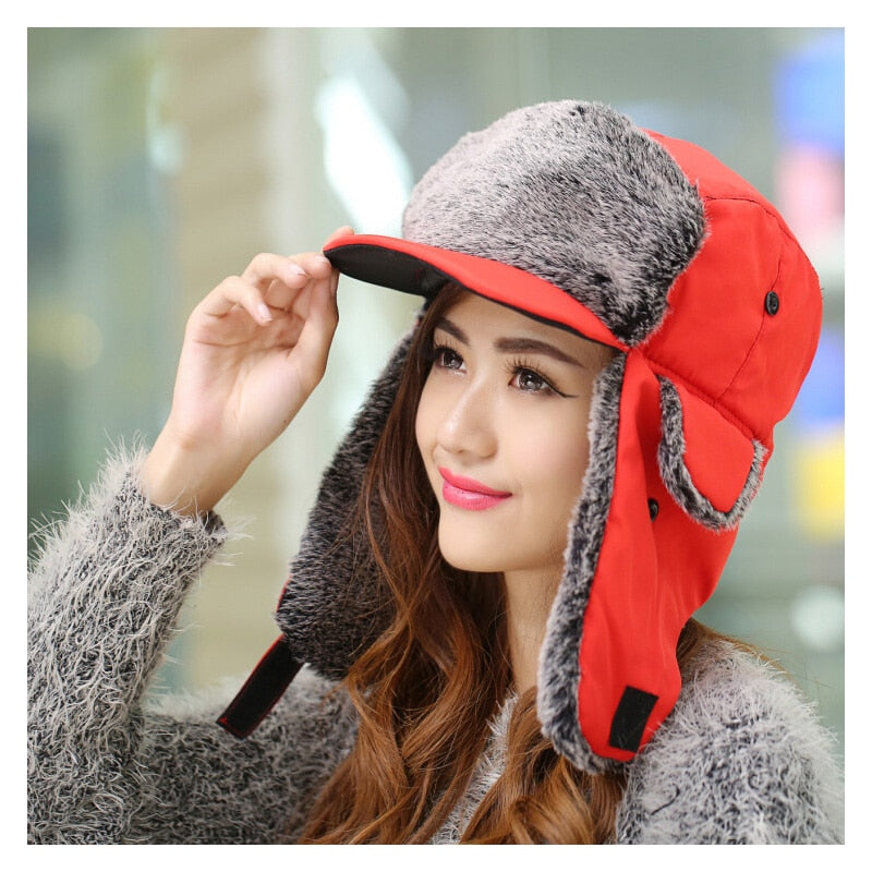571a3e53f93 Fashion Winter Hat Korean For Women Men Winter Trapper Hat Unisex Cold  Winter Wind Visor Cap