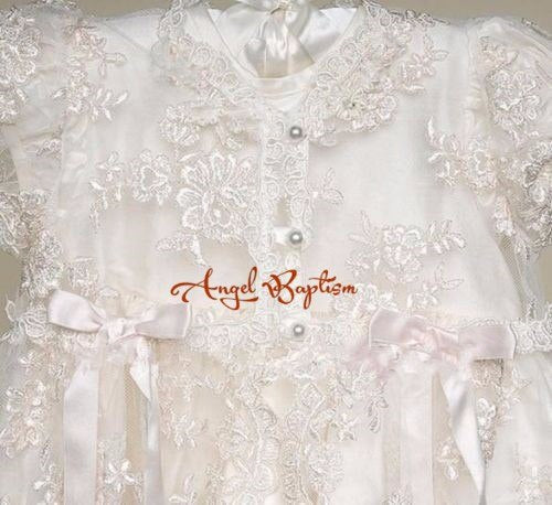 8b44f7afc73 Vintage Ivory Satin silk lace Baby girl Christening Gowns Newborn formal  Baptism Robe Long dress With