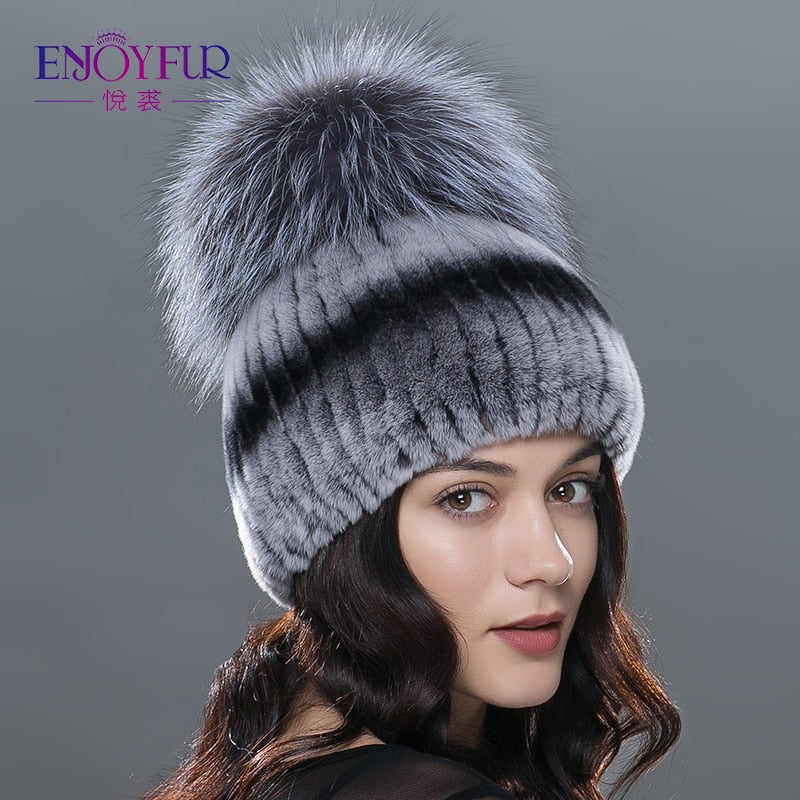 ENJOYFUR winter fur hat for women real rex rabbit fur cap silver fox fur  beanies hats 0a73c738e45