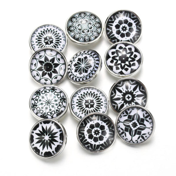 10pcs/lot Mixed Bohemia Black Pattern&Styles Charms 12mm 18mm Exotic Glass Snap Button For DIY Bracelet Snaps Jewelry 050705
