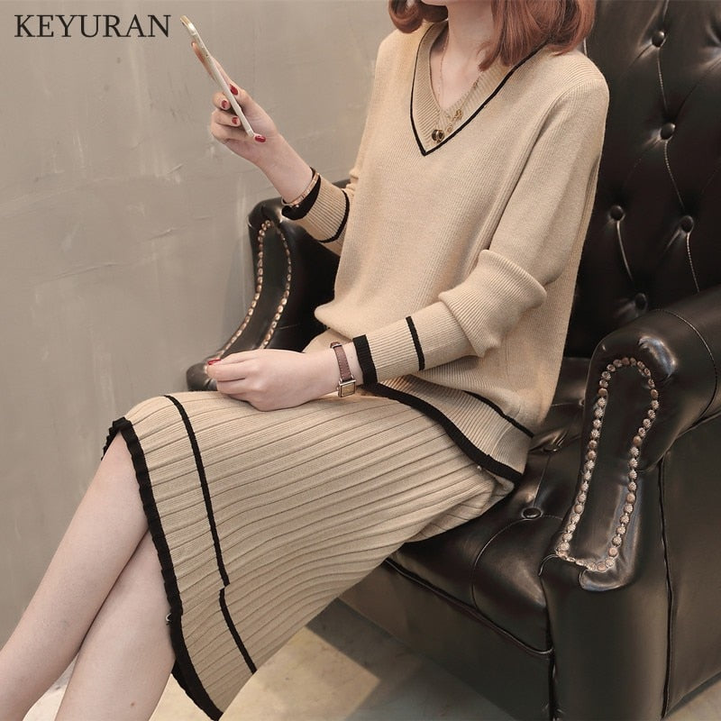72f9e947a43 Striped 2 PCS Woman Autumn Knitting Set V - Neck Casual Pullover Sweater +  Skirt Suit
