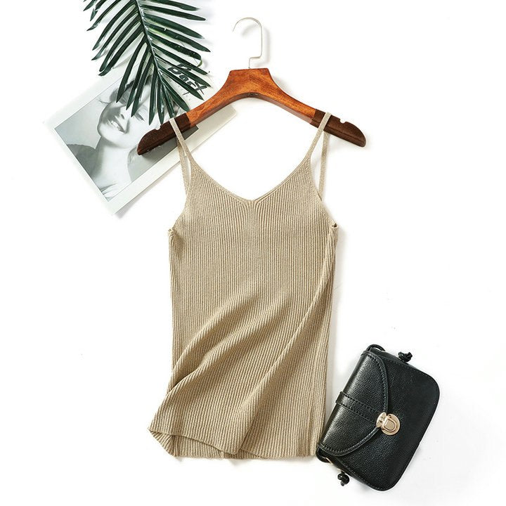 f1513d7f7b262 2018 Sexy Tank Tops Women Knitted Tank Tops Gold Thread Top Vest Summer  Camisole Women White