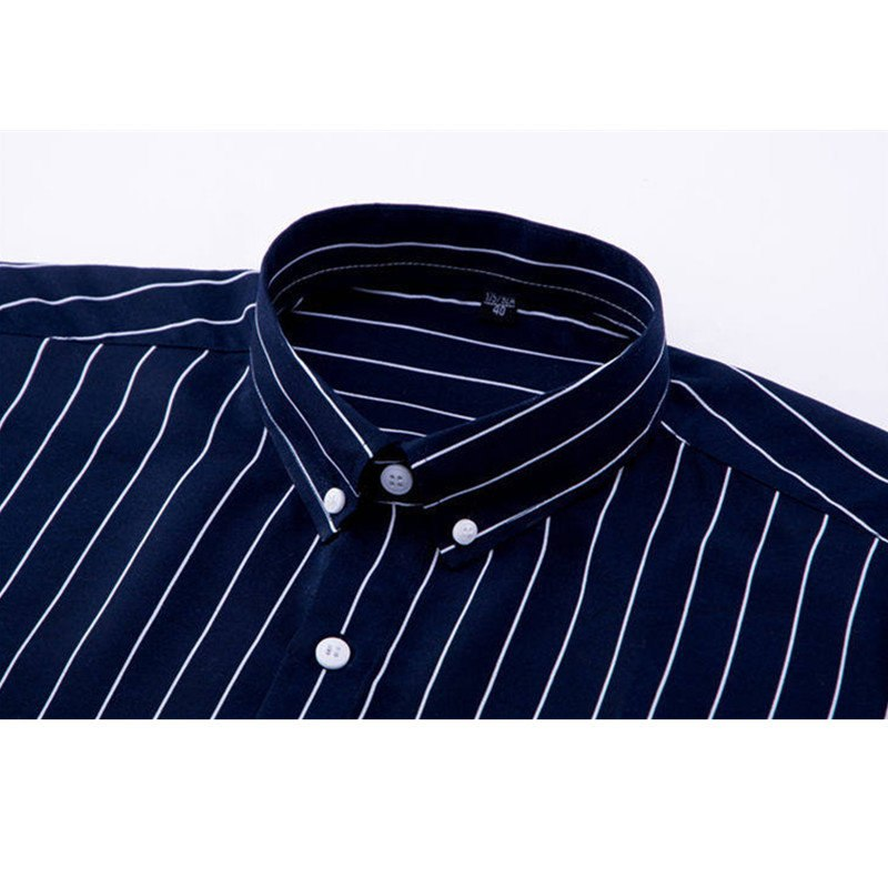a4b5426db89 2019 Men Casual Long Sleeved Striped Shirt Slim Fit Male Social Business Dress  Shirt Brand Man