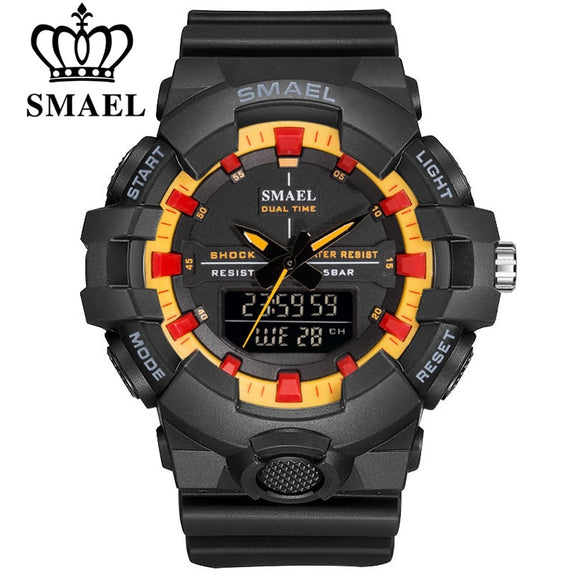 SMAEL Brand Men LED Digital Quartz Dual Display Watches Multifunction Military Sports Watch for Men's 50M Waterproof Wristwatch