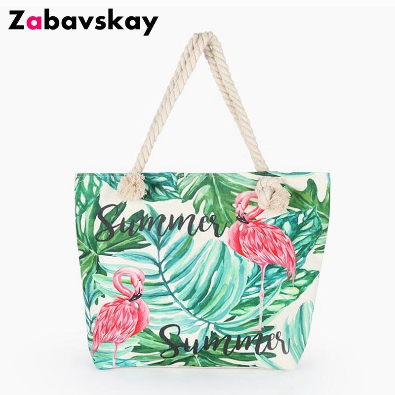 b8ad2dc640 New Hot Sale Women Canvas Beach Bags Flamingo Printed Casual Bag High  Quality Female Single Shoulder