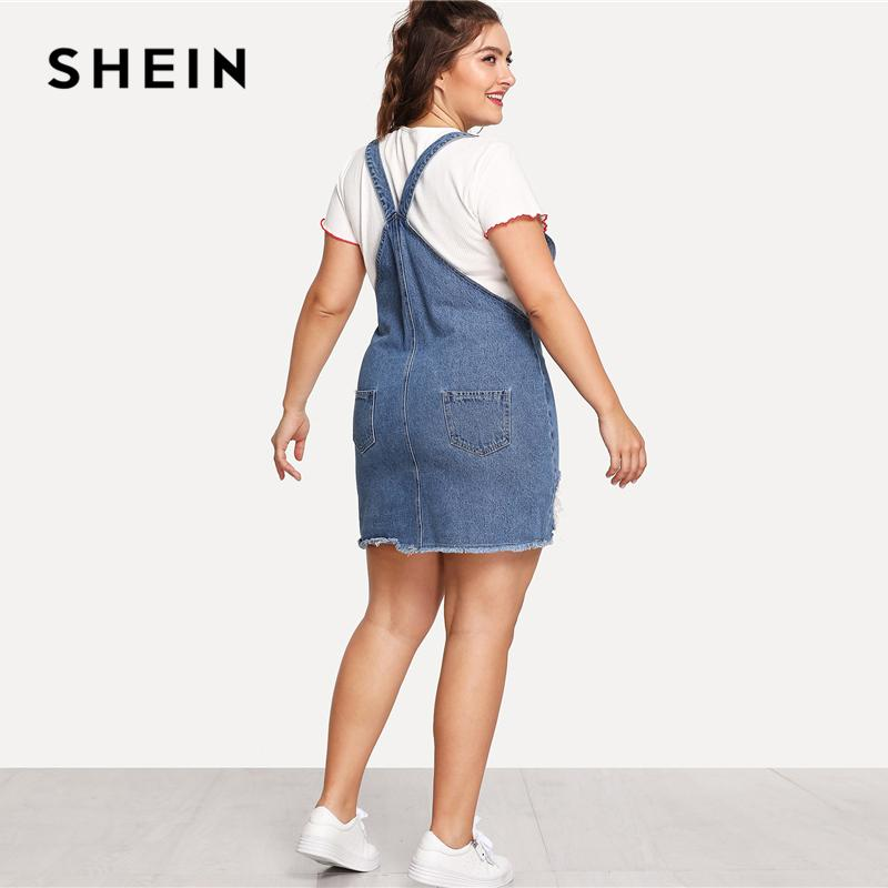 f17f5179259a9d SHEIN Hem Distressed Denim Overall Dress 2018 Summer Straps Sleeveless  Ripped Clothing Women Plus Size Casual
