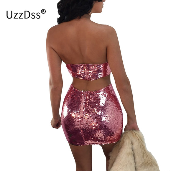 UZZDSS Lace Up Strap Short 2 Pieces Dress Set Women Slash Neck Sequin Autumn Fitness Sexy Club Party Skirt Two Pieces Set