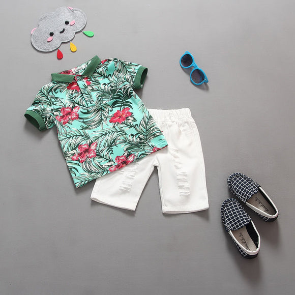 2pcs Toddler Kids Fashion Baby Boy Flower T shirt Tops Short Pants Outfits Clothing Short Sleeve Sunsuit Set