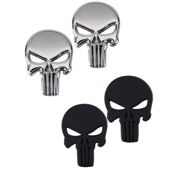 Skull Punisher Emblem Badge 3D Zinc Alloy Metal Sticker Decals for Cars Trucks Motorcycle Vehicle Luggage Laptop Tablets