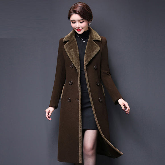 Plus size Autumn Women Wool Blends Coat Winter Woolen Coats Women Long Paragraph Solid Color Cashmere Coat Thick Wool jacket 529