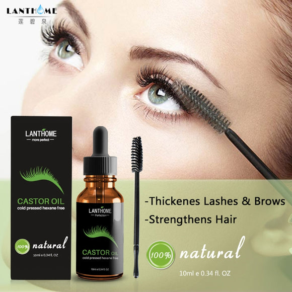 Castor Oil Eyelashes Eyebrow Enhancer Boost Growth Serum Essential Oil And Brush